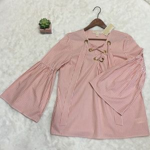 NWT MICHAEL Michael Kors Striped Lace Up Blouse